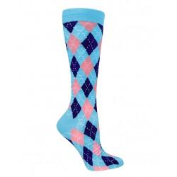 Calcetas de compresión Argyle Blue and Pink