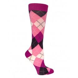 Calcetas de compresión Argyle Pink & Purple