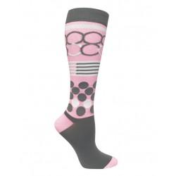 Calcetas de compresión  Rings & Dots on Pink & Grey